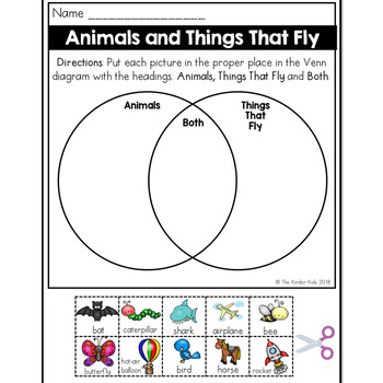 Animals and Flying Things Venn Diagram Worksheet by The Kinder Kids