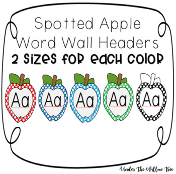 Apple Word Wall Alphabet Headers - Printable by Under the Willow Tree