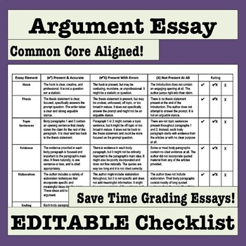 Argument Essay Editable Checklist Makes Grading Easy and Efficient!