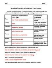 Articles of Confederation Worksheet - description and ...