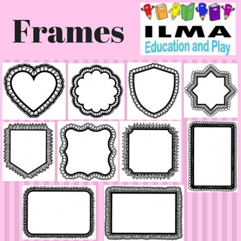 Assorted Frames for name tags, gift tags, cards, worksheets, colouring