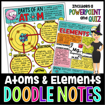 Atoms  Elements Science Doodle Notes with PowerPoint  Quiz TpT
