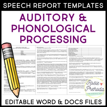 Auditory  Phonological Processing Speech Evaluation Report Templates - product evaluation template