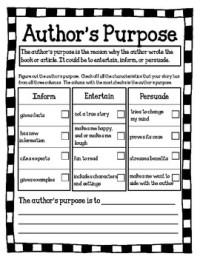 Authors Purpose Worksheet - Kidz Activities