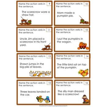 Autumn Action Verbs by Mrs Dunaways Classroom Teachers Pay Teachers - what is an action verb
