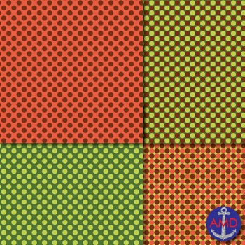 Autumn Rust  Green (Fall Colors) Chevron, Polka Dot  Striped Paper