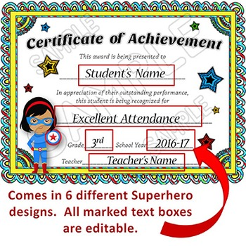EDITABLE Awards Certificates - Superhero Themed Certificates of