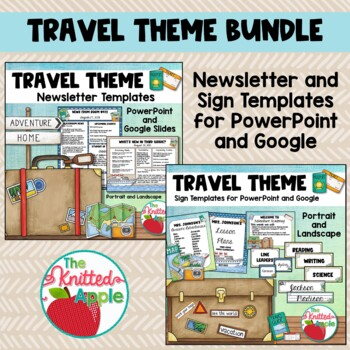 BUNDLE Travel Theme Newsletters and Editable Signs by The Knitted Apple
