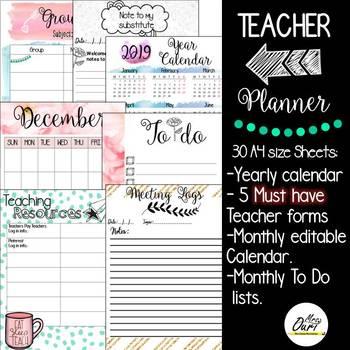 Back To School Teacher Planner by Mrs Ouri Teachers Pay Teachers