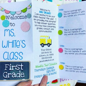 Back to School Brochure Template by First and Kinder Blue SKies TpT