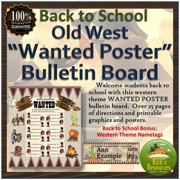Back to School Bulletin Board - Old West Wanted Poster by Rick\u0027s - example of a wanted poster