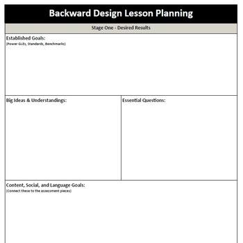 Backward Design - Lesson Plan Template by MsTottensClassroom TpT