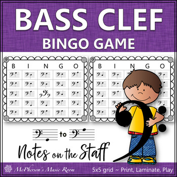 Bass Clef Music Bingo Game by Linda McPherson Teachers Pay Teachers - clef music