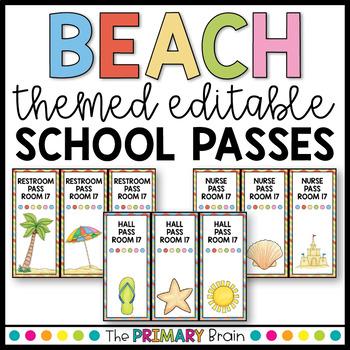 Beach Themed Editable School Passes for Restroom, Nurse, Office, and