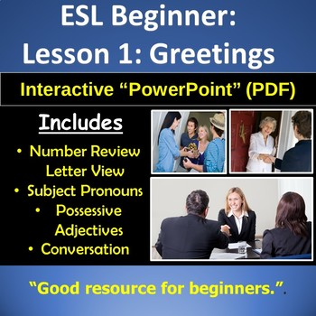 Adult ESL Beginner ESL Introductions and Greetings TpT - esl powerpoint lesson