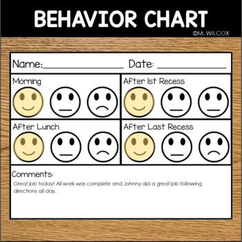 EDITABLE Behavior Chart Happy Okay Sad Face Positive Reinforcement