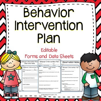 Behavior Intervention Plan Editable Forms and Data Sheets TpT