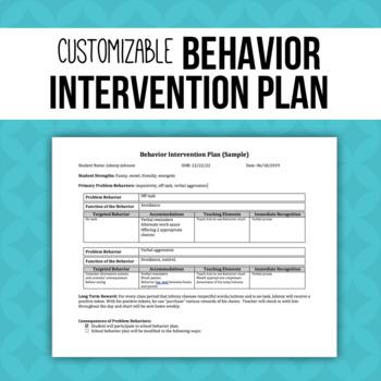 Behavior Intervention Plan Template (BIP) by The Greenhouse Educators