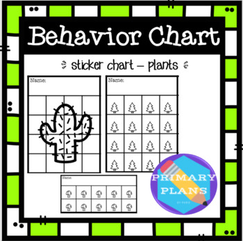 Behavior Sticker Charts - Plants Theme by Primary Plans by Paris