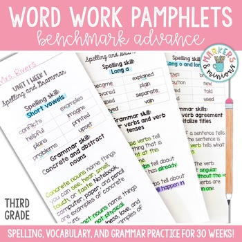 Spelling, Vocabulary,  Grammar Pamphlets - Third Grade (Benchmark
