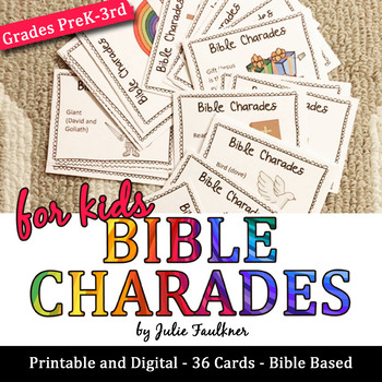 Bible Charades for Kids -36 Easy Prep Cards, Fun Games for Church  More