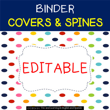 Binder Covers {Editable} by Fun and Learning in English and Spanish