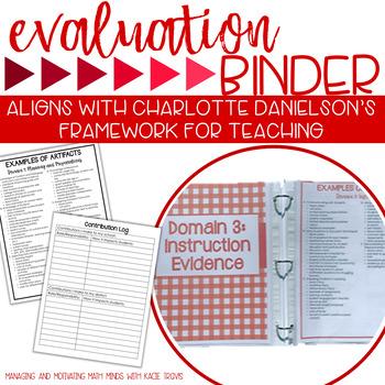 Charlotte Danielson Teacher Evaluation Binder Red Theme by Kacie Travis