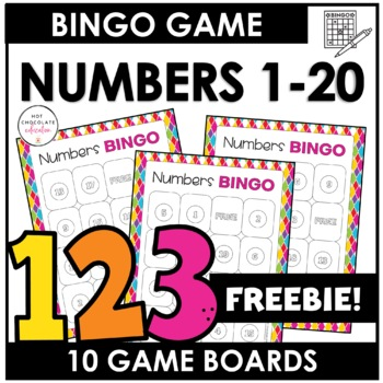 Free! Bingo Game Numbers 1-20 by Hot Chocolate Printables TpT