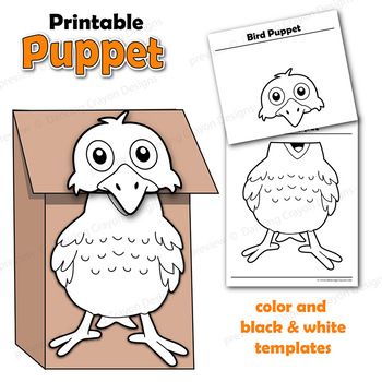 Bird Craft Activity Paper Bag Puppet Template by Dancing Crayon