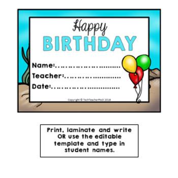 OCEAN Birthday Bulletin Board Display Fully Editable by Tech Teacher