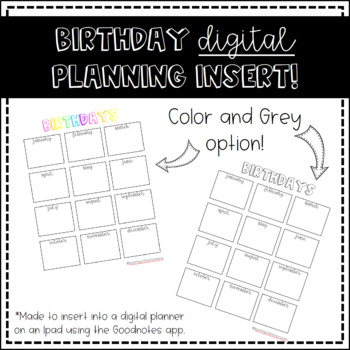 Birthday DIGITAL Planning Insert by Soaring With Moore TpT