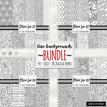 BUNDLE Black  White Doodle Digital Paper, Coloring Background