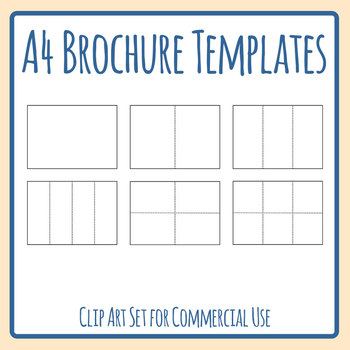 Blank A4 Brochure Templates Clip Art Set Commercial Use by Hidesy\u0027s