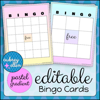 Blank BINGO Cards Editable Pastel Gradient Theme by Aubrey Ellen