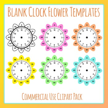 Blank Clock Flowers Template Clip Art Set for Commercial Use Learn