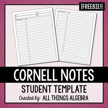 FREE Cornell Notes Template by All Things Algebra TpT - cornell note template