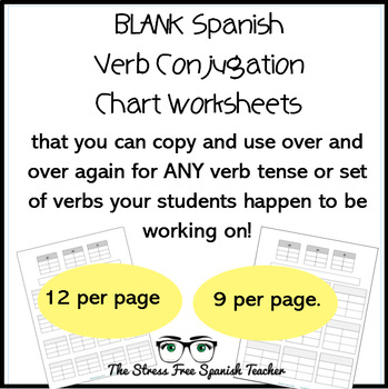 Blank T Chart, Verb Conjugation Worksheet, for Spanish class TpT