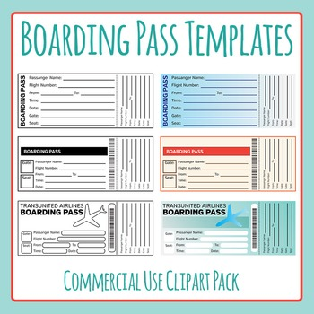 Boarding Pass Templates Clip Art for Commercial Use - Great for - boarding pass template