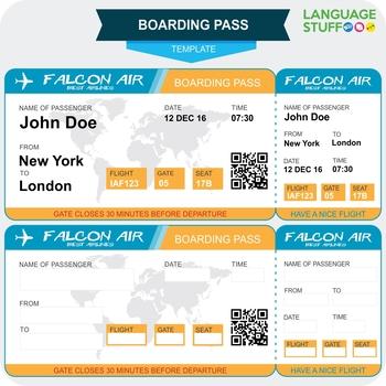 Boarding pass template by Language Stuff Teachers Pay Teachers