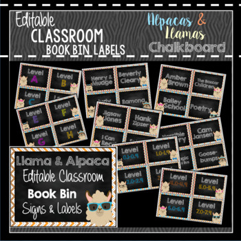 Book Bin  Book Basket Labels Editable Alpaca  Llama Chalkboard