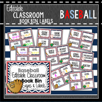 Book Bin  Book Basket Labels Editable Baseball by Heather Johnson 33
