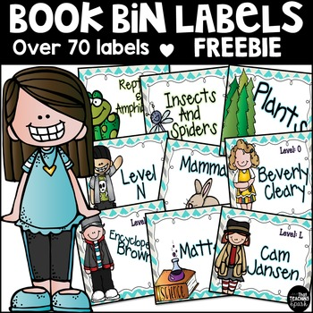 Library Book Bin Labels Freebie by That Teaching Spark TpT