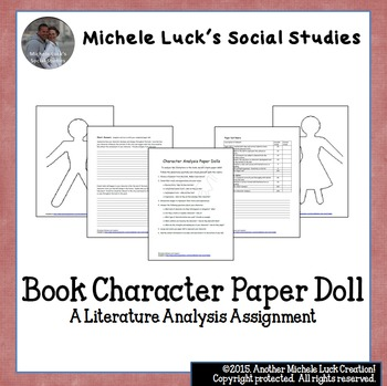 Book Character Analysis Paper Doll Assignment by Michele Luck\u0027s