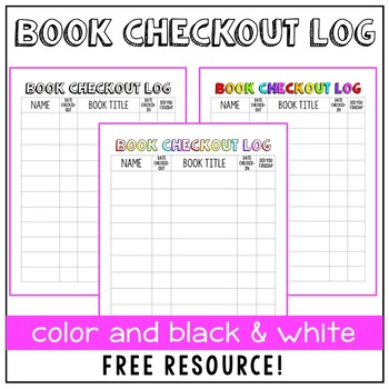 Book Checkout Log for Classroom Library by Sassy in Middle TpT