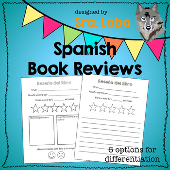 Book Review Templates in Spanish by Sra Lobo Teachers Pay Teachers
