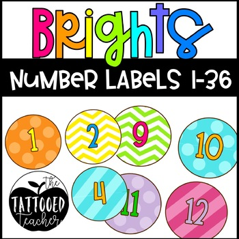 Bright Patterns round classroom number labels 1-36 TpT