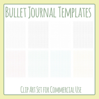 Bullet Journal Pages Templates - Small Dots Clip Art Set for