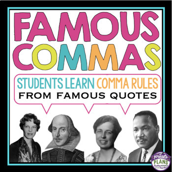 COMMAS ACTIVITY QUOTES TASK CARDS by Presto Plans TpT