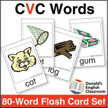 CVC Word Flash Card Set by Donald\u0027s English Classroom TpT