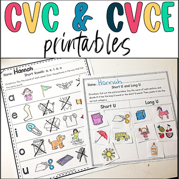 CVC and CVCE Worksheets by Kinder Pals Teachers Pay Teachers